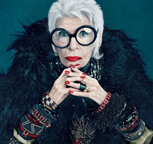 Iris Apfel, Iris Apfel MAC, Buddy Holly glasses, retro glasses, eyeglass blog, edith head eyeglasses